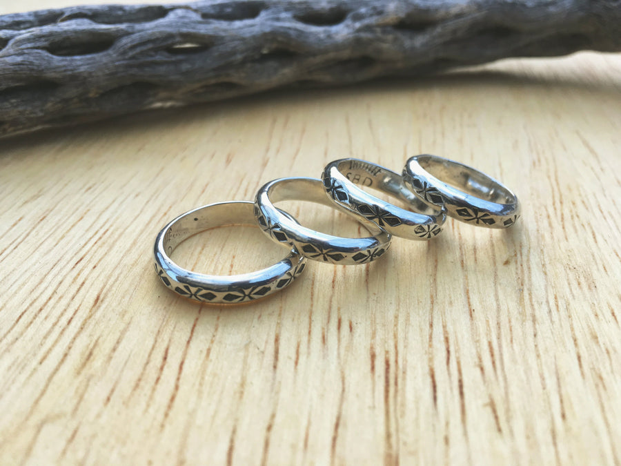 Stamped Sterling Silver Stacker Ring