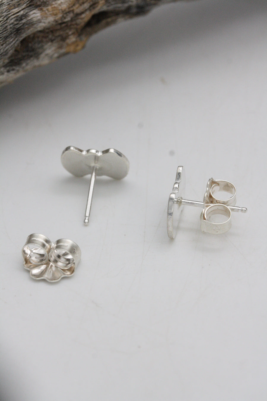Stamped Silver Stud Earrings