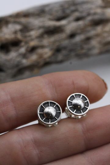 Sterling Silver Wheel Stud Earrings