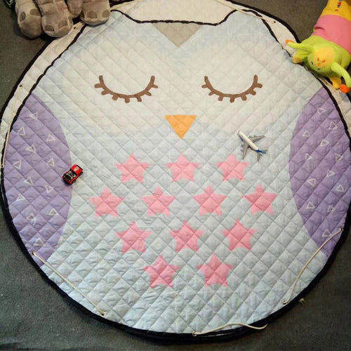 Sleepy Owl Themed Soft Cotton Play Mat - Nested Nurseries