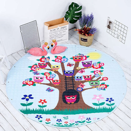 Owl Themed Soft Cotton Play Mat - Nested Nurseries