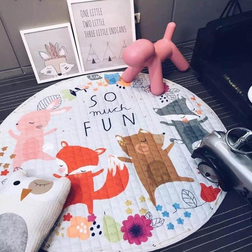 Friendly Animal Themed Soft Cotton Play Mat - Nested Nurseries