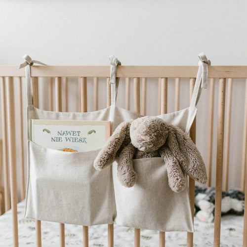 Simple Linen Cot Organiser - Assorted Colours - Nested Nurseries