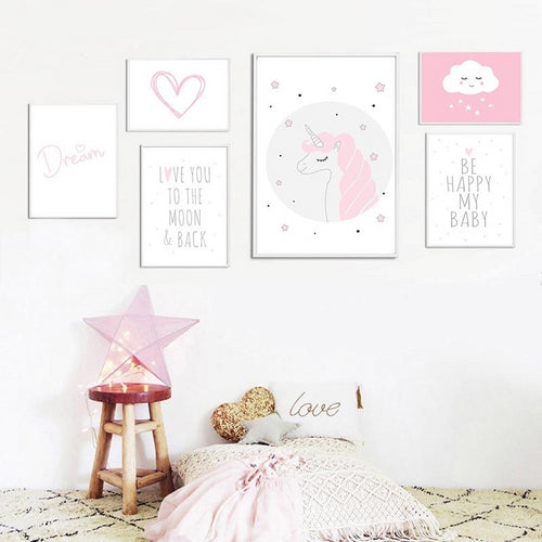Pink and White Theme Wall Prints Collection - Nested Nurseries
