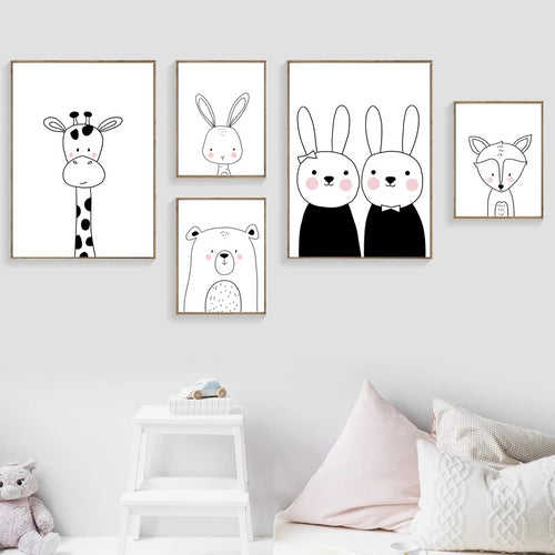 Neutral Cartoon Animal Wall Prints Collection - Nested Nurseries