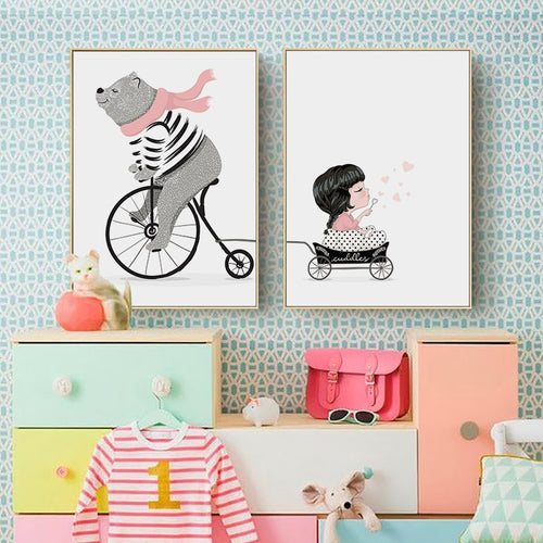 Cycling Bear and Little Girl Wall Print - Nested Nurseries