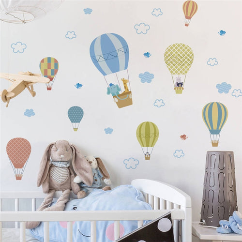 Cloudy Hot Air Balloon Wall Decals - Nested Nurseries