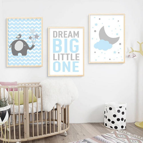 Baby Blue Wall Prints Collection - Nested Nurseries