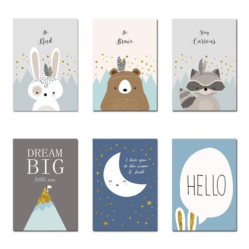 Woodland Animal Wall Prints Collection - Nested Nurseries