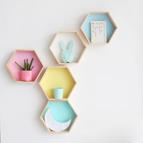 Medium Hexagon Wall Shelf - Assorted Colours - Nested Nurseries