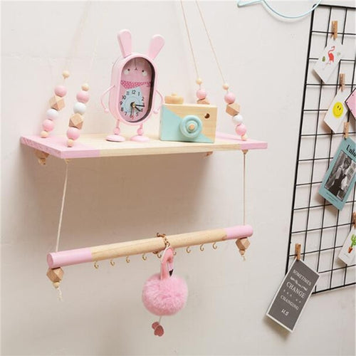 Nordic Style Wall Shelf With Hooks - Assorted Colours - Nested Nurseries