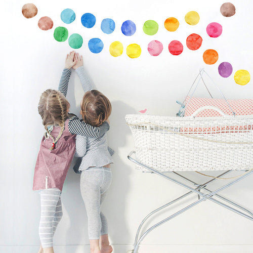 Watercolour Polka Dot Wall Decals - Nested Nurseries