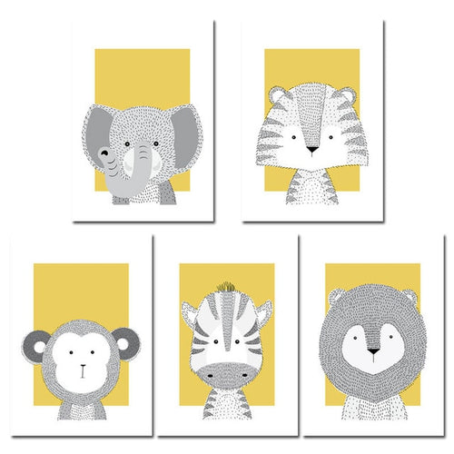 Safari Animal Wall Prints Collection - Nested Nurseries