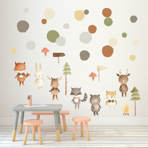 Watercolour Woodland Scene Wall Decals - Nested Nurseries