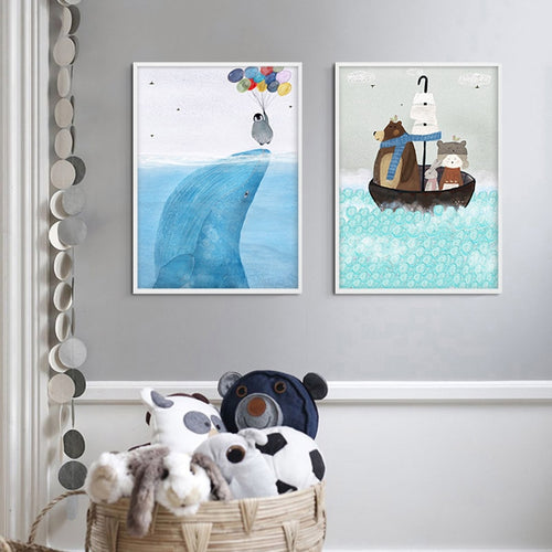 Watercolour Animal Wall Print Collection - Nested Nurseries