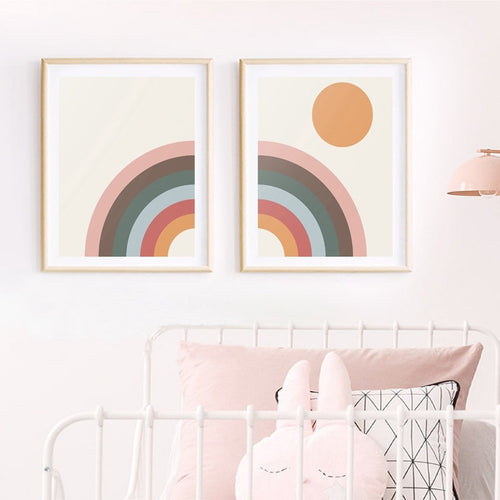 Mid Century Modern Rainbow Wall Print - Nested Nurseries