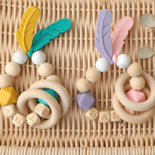 Wooden Feather Bangle - Assorted Colours - Nested Nurseries