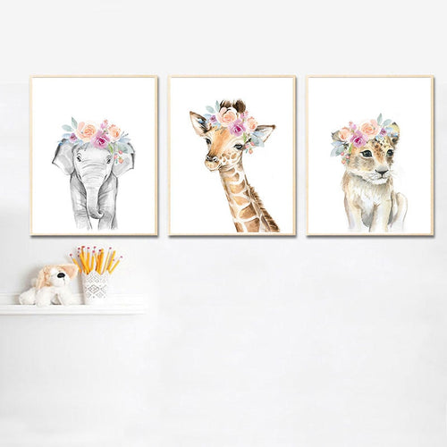 Floral Safari Animal Wall Print - Nested Nurseries