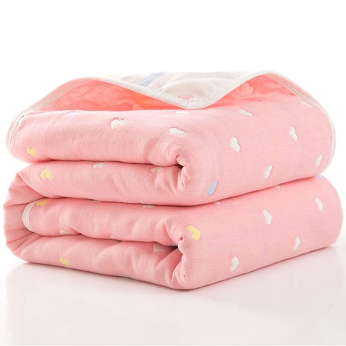Layered Heart Cotton Receiving Blanket - Assorted Colours - Nested Nurseries