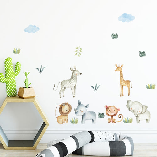 Baby Safari Herd Wall Decals - Nested Nurseries