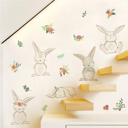 Shy Rabbit Wall Decals - Nested Nurseries