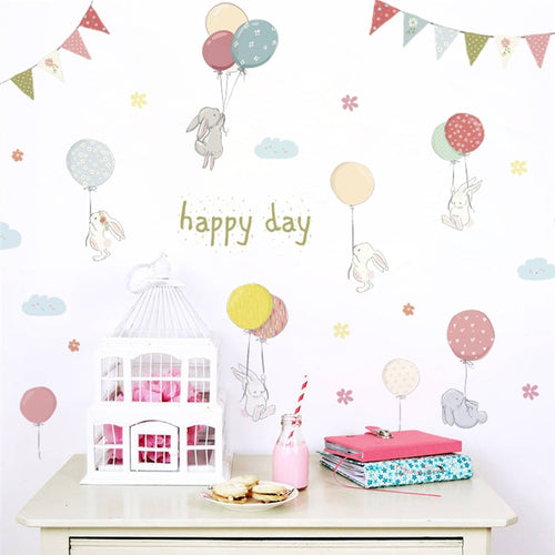 Happy Day Bunny Wall Decal - Nested Nurseries
