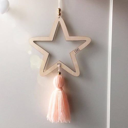 Nordic Style Timber Star Ornament - Assorted Colours - Nested Nurseries