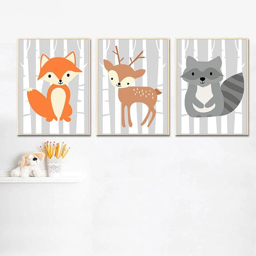 Baby Woodland Creatures Wall Print Collection - Nested Nurseries