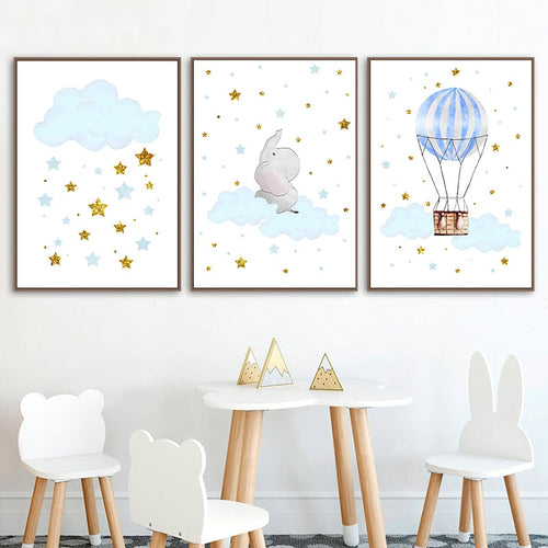 Dream Time Elephant Wall Print Collection - Nested Nurseries