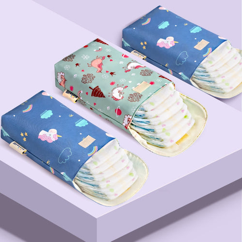 Compact Diaper Pouch - Assorted Colours - Nested Nurseries