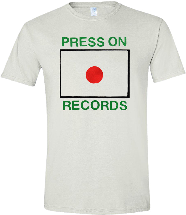 Press On Records logo screen printed on white short-sleeved shirt
