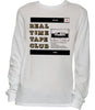 Real Time Tape Club design screen printed on white long-sleeved shirt by Press On Records