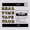 Real Time Tape Club design screen printed in black, gold and red on a white long-sleeved cotton t-shirt