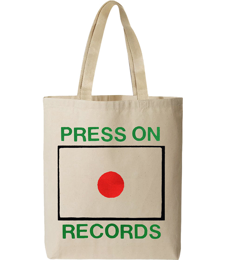 Press On Records record button logo screen printed on natural canvas tote bag