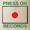 Screen printed red, green, and black Press On Records logo design