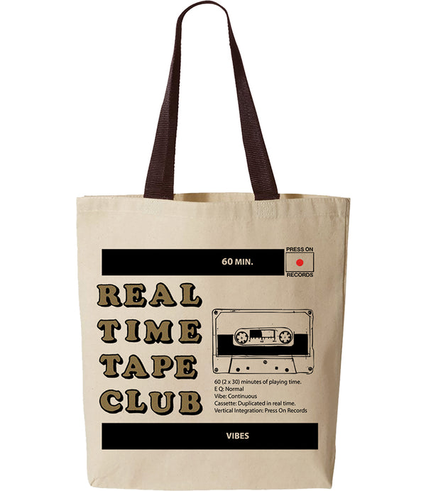 Real Time Tape Club design screen printed on natural cotton canvas tote bag by Press On Records
