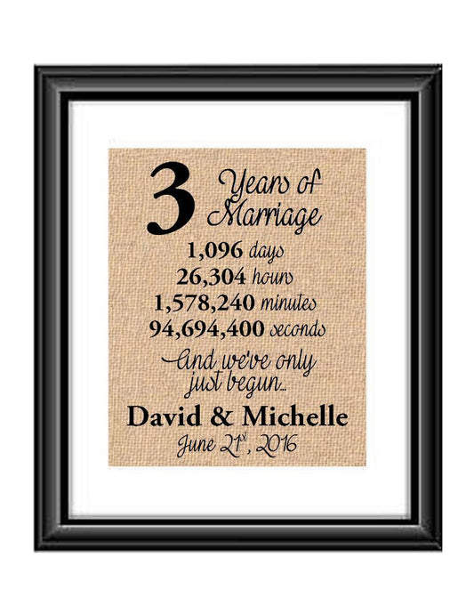This is the perfect 3 year anniversary gift for that special lady or gentleman in your life. This particular print also makes a great wedding gift for that special couple.  3 Years of Marriage And We've Only Just Begun Anniversary Burlap or Cotton Personalized Print