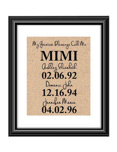 This handmade burlap print is the perfect gift for Mimi, Mom, Dad, Nana, Grandma - whatever you call that special person in your life! Ideal for many occasions like Christmas, Mother's Day, Father's Day, birthdays, any holidays, and more!  My Greatest Blessings Call Me MIMI Burlap or Cotton Personalized Print