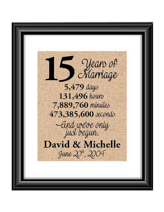 This is the perfect 15 year anniversary gift for that special lady or gentleman in your life. This particular print also makes a great wedding gift for that special couple.  15 Years of Marriage And We've Only Just Begun Anniversary Burlap or Cotton Personalized Print