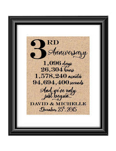 This is a great anniversary gift for that special couple celebrating 3 years of marriage. Print comes personalized with couples first names and wedding date.  3rd Anniversary And we've Only Just Begun Personalized Burlap or Cotton Print