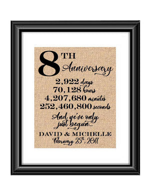 This is a great anniversary gift for that special couple celebrating 8 years of marriage. Print comes personalized with couples first names and wedding date.  8th Anniversary And we've Only Just Begun Personalized Burlap or Cotton Print