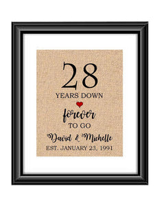 28 Years down forever to go is a personalized anniversary print to show that special loved one just how much you appreciate them. This makes for the perfect gift for your husband, wife, partents or any other couple celebrating 28 years!  28 Years Down Forever to Go Personalized Anniversary Burlap or Cotton Print