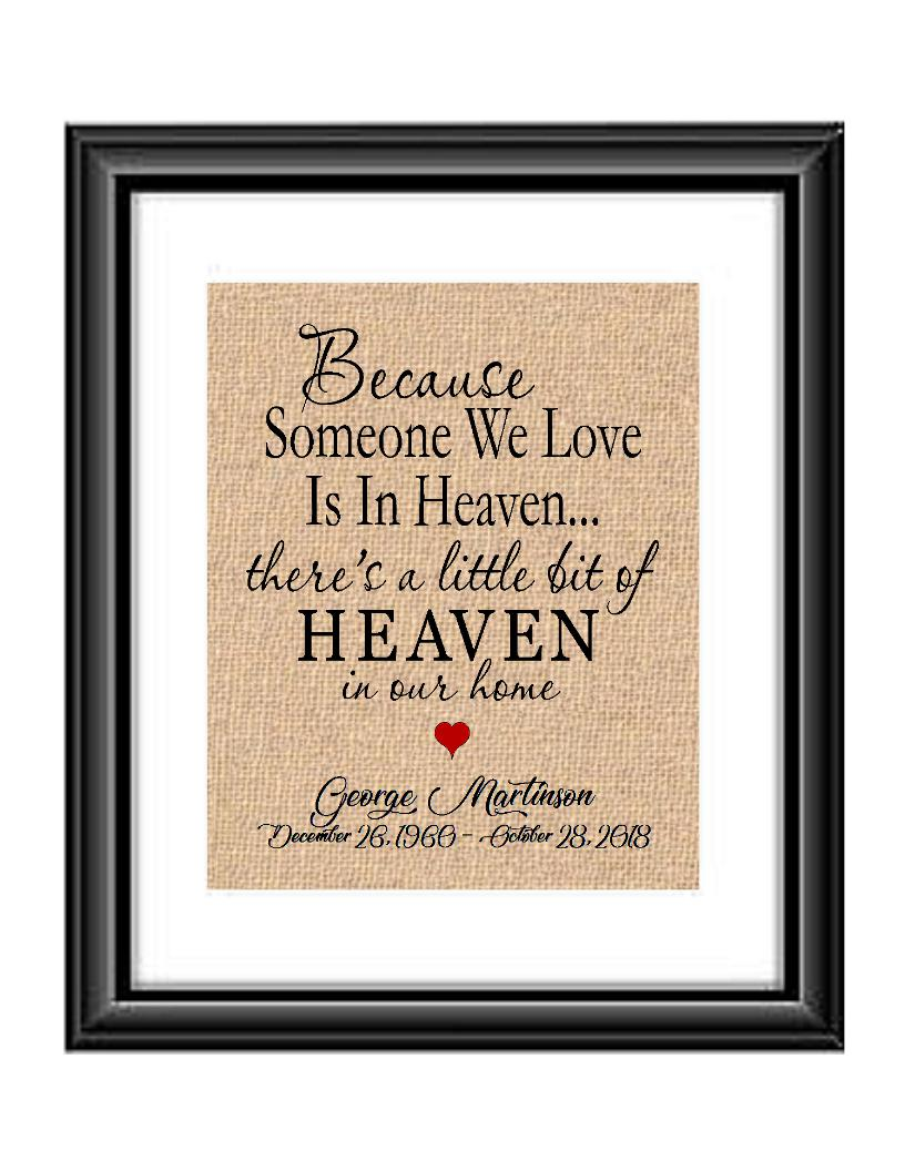 Here is a personalized print to remind us that heaven is not to far away and our loved ones are always with us. Print is personalized with name and dates and also the saying