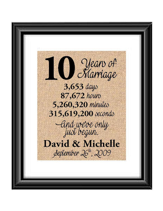 This is the perfect 10 year anniversary gift for that special lady or gentleman in your life. This particular print also makes a great wedding gift for that special couple.  10 Years of Marriage And We've Only Just Begun Anniversary Burlap or Cotton Personalized Print