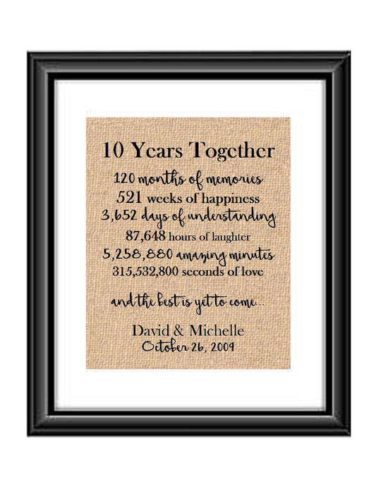 This is the perfect 1 year anniversary gift for that special lady or gentleman in your life. This particular print also makes a great wedding gift for that special couple.  10 Years Together And The Best is Yet to Come Anniversary Burlap or Cotton Personalized Print