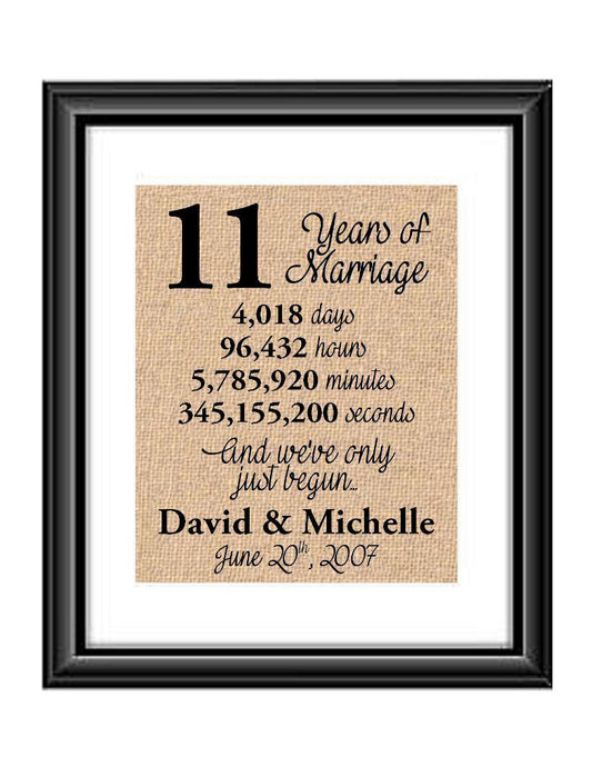 This is the perfect 11 year anniversary gift for that special lady or gentleman in your life. This particular print also makes a great wedding gift for that special couple.  11 Years of Marriage And We've Only Just Begun Anniversary Burlap or Cotton Personalized Print