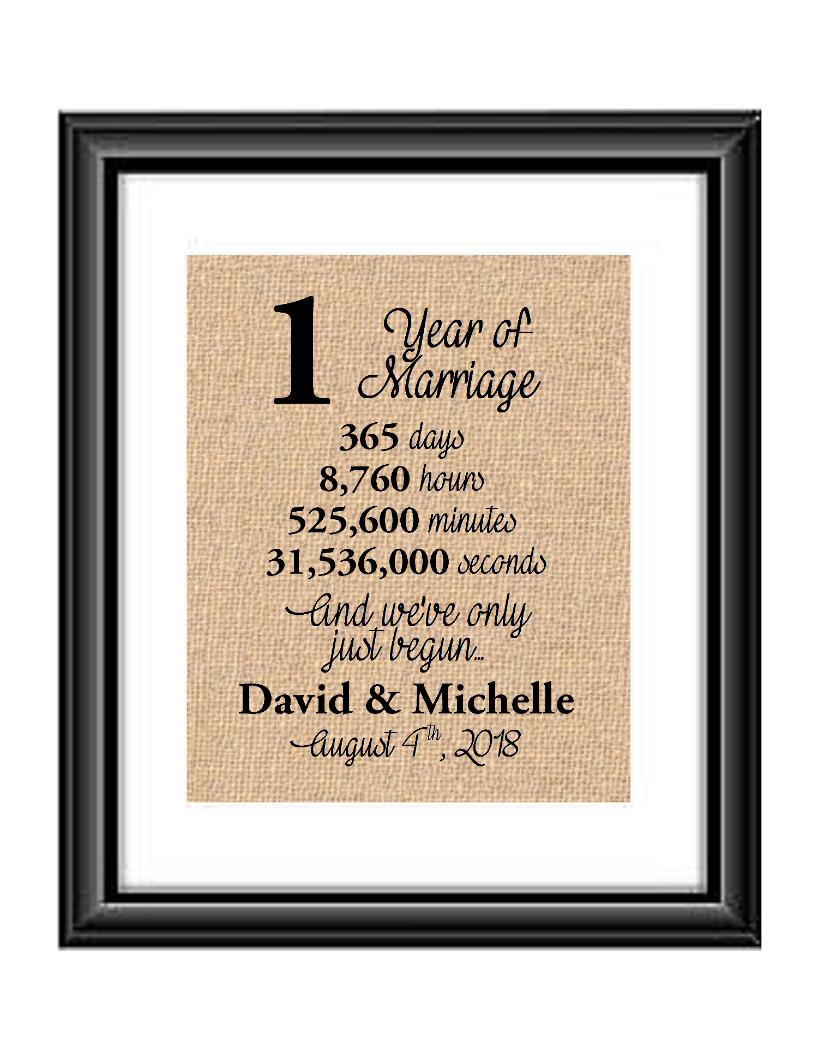 This is the perfect 1 year anniversary gift for that special lady or gentleman in your life. This particular print also makes a great wedding gift for that special couple.  1 Year of Marriage And We've Only Just Begun Anniversary Burlap or Cotton Personalized Print