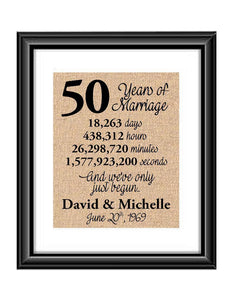 This is the perfect 50 year anniversary gift for that special lady or gentleman in your life. This particular print also makes a great wedding gift for that special couple.  50 Years of Marriage And We've Only Just Begun Anniversary Burlap or Cotton Personalized Print