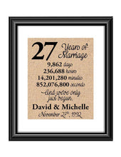This is the perfect 27 year anniversary gift for that special lady or gentleman in your life. This particular print also makes a great wedding gift for that special couple.  27 Years of Marriage And We've Only Just Begun Anniversary Burlap or Cotton Personalized Print
