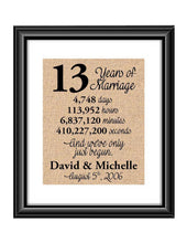 This is the perfect 13 year anniversary gift for that special lady or gentleman in your life. This particular print also makes a great wedding gift for that special couple.  13 Years of Marriage And We've Only Just Begun Anniversary Burlap or Cotton Personalized Print